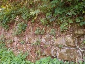 Zidul care întărea terasamentul căii ferate