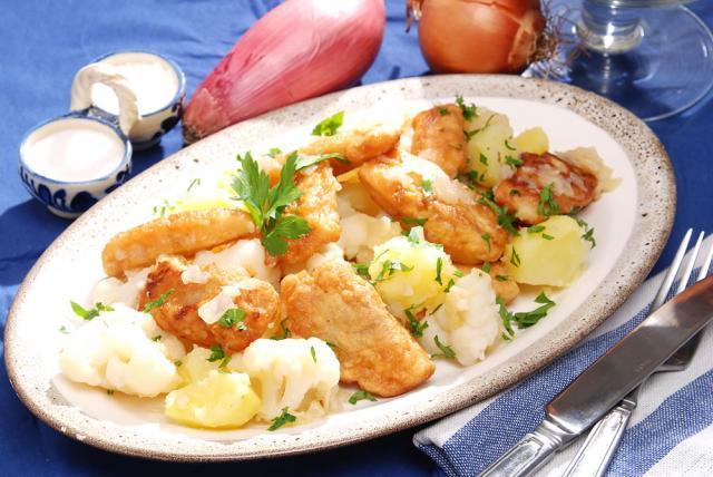 Şalău pane cu cartofi şi conopidă