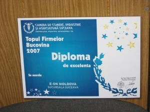 Pentru al doilea an consecutiv: Diplomă de excelenţă pentru E.ON Moldova - Sucursala Suceava