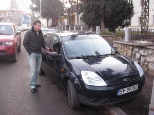 Sorin Juravlea la scurt timp după ce şi-a recuperat maşina