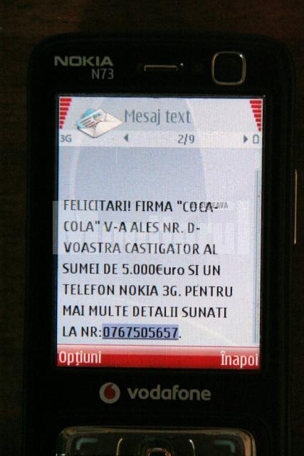 Mai mulţi suceveni au primit ieri pe telefoanele mobile mesaje prin care sunt anunţaţi că au câştigat diverse premii
