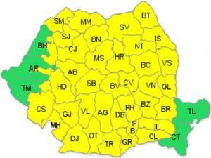 Codul galben de ploi, extins pentru aproape toate. Foto: www.meteoromania.ro