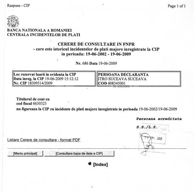 Potrivit extrasului de la Centrala Incidentelor de Plăţi a Băncii Naţionale a României, SC SOPI Art Construct SRL Suceava, nu figurează cu incidente de plăţi