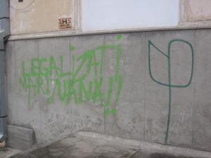 Însemnul realizat pe pereţii din centrul Sucevei, o joacă de prost gust