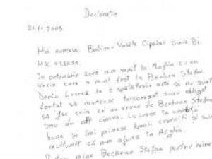 Declaraţie olografă trimisă de Bechian