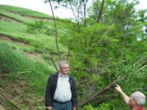 Alertat de pericolul care îi pândeşte pe locuitorii de la baza versantului, primarul Sucevei, Ion Lungu, a făcut ieri o vizionare în teren