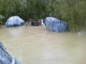 Aşa arătau camerele de tractor găsite pe apă de poliţiştii din Siret