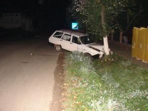 Vecinul i-a lăsat maşina proptită în copac