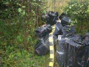 Şase mii de pachete de ţigări, în 12 colete voluminoase, ambalate în folie de plastic