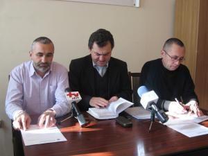 Preşedinţii filialelor din Suceava ale Cartel Alfa, Traian Pădureţ, CNSRL Frăţia, Gheorghe Leuştean, şi BNS, Iordănel Secrieru