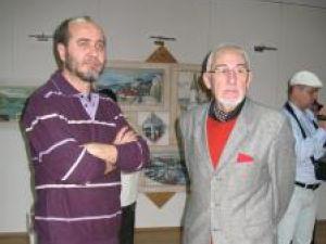 Artistul plastic Dumitru Bostan şi criticul de artă  Valentin Ciucă