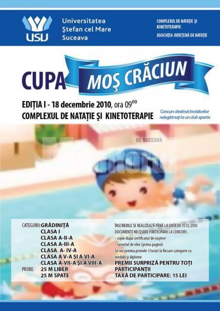 """Competiţie: Prima ediţie a Cupei Moş Crăciun la înot, la Universitatea """"Ştefan cel Mare"""""""