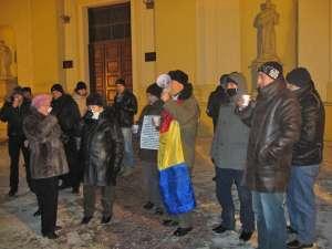Protestele au continuat şi marţi seară, la minus 15 grade Celsius