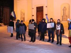Protestele în centrul Sucevei au continuat şi aseară