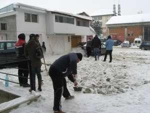 Locatarii unui bloc din cartierul George Enescu s-au adunat pentru a curăţa parcarea