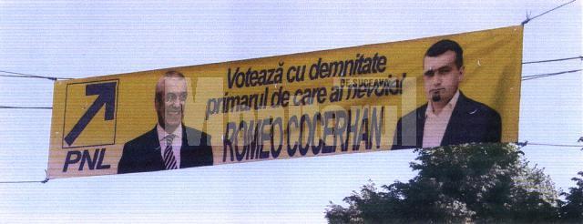 Prin Moldoviţa au fost împânzite bannere şi afişe cu tandemul Romeo Cocerhan – Călin Popescu Tăriceanu