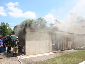 Caissonul în care se pregătesc pompierii