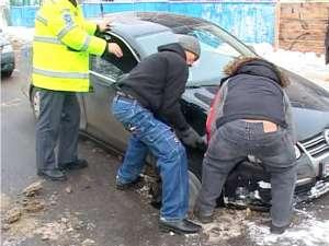 A doua maşină a căzut când poliţiştii erau deja la faţa locului