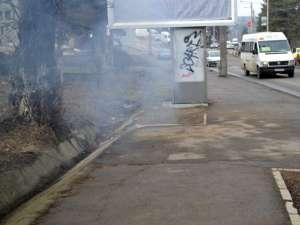 Focul a izbucnit de la o ţigară aruncată în canal, care a aprins deşeurile din interior