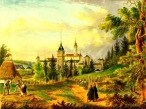 Dragomirna, mănăstirea, în 1860 – acuarelă de Franz Xaver Knapp (1809-1883)