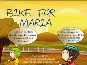 """""""Bike for Maria"""", concurs caritabil de ciclism, adresat copiilor cu vârsta cuprinsă între 8 şi 16 ani"""