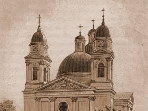 B24: Cernăuţi, Catedrala ortodoxă – desen de Rudolf Bernt (1844-1914)
