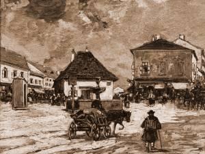 Cernăuţi, Piaţa Fântânii Albe – desen de Mattias Adolf Charlemont (1820-1871)
