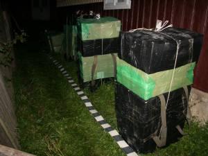 În coletele abandonate, poliţiştii au găsit 12.499 de pachete de ţigări, în valoare de 119.400 de lei