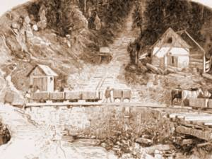 Iacobeni, minele – desen de Rudolf Bernt (1844-1914)