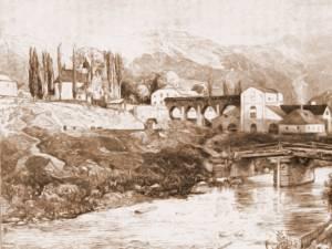 Iacobeni, pod peste Bistriţa Aurie – desen de Mattias Adolf Charlemont (1820-1871)