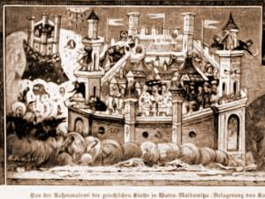 """Moldoviţa, fresca """"Asediul Constantinopolului"""" – desen de Rudolf Bernt (1844-1914)"""
