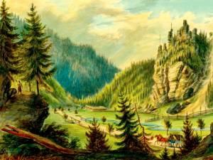 Pojorâta, Valea Putnei – acuarelă de Franz Xaver Knapp (1809-1883)
