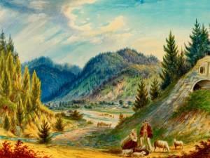 Putna, Chilia lui Daniil Sihastrul – acuarelă de Franz Xaver Knapp (1809-1883)