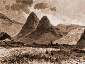 Pojorâta, munţii Adam şi Eva – desen de Mattias Adolf Charlemont (1820-1871)