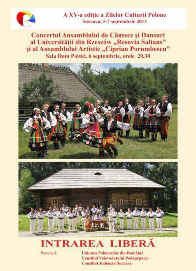 """Ansamblul de Cântece și Dansuri al Universității din Rzeszȯw """"Resovia Saltans"""", astăzi, la Dom Polski"""