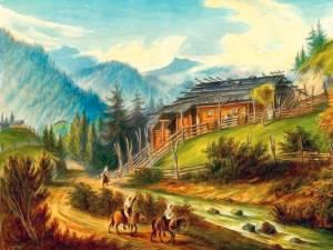 Şipotele Sucevei, Colibă huţulă – acuarelă de Franz Xaver Knapp (1809-1883)