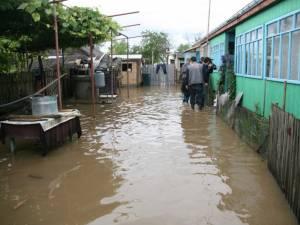 Cinci curţi au fost inundate, în cazul a două proprietăţi apa intrând şi în locuinţe