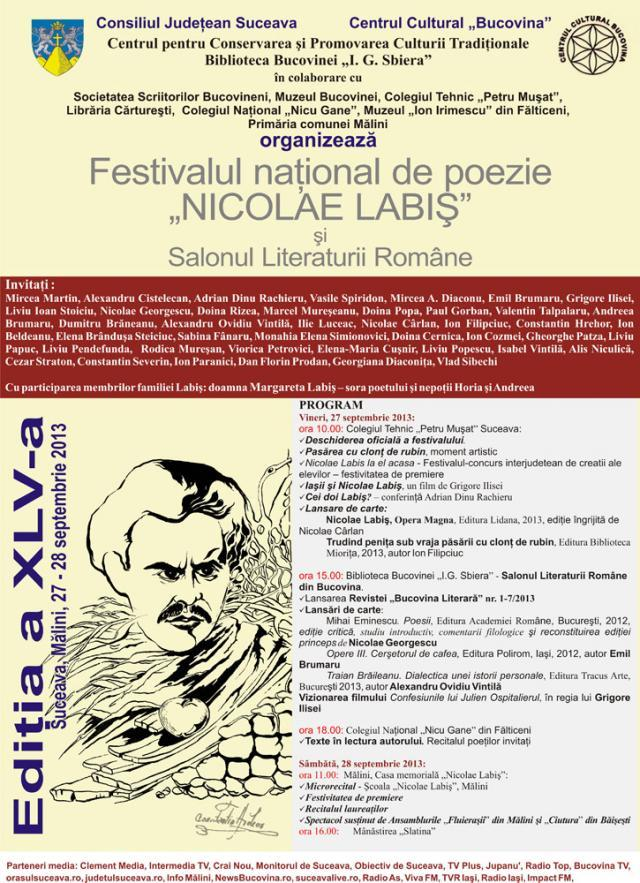 """Festivalul naţional de poezie """"Nicolae Labiş"""", ediţia a XLV-a, la Suceava, Fălticeni şi Mălini"""