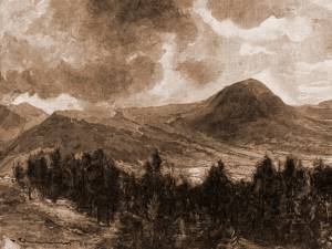 Vatra Dornei, muntele Ouşorul – desen de Mattias Adolf Charlemont (1820-1871)