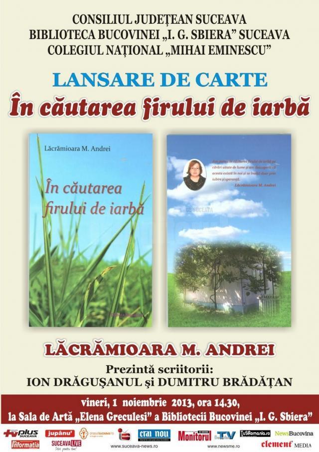 """Lansarea cărţii """"În căutarea firului de iarbă"""""""