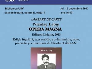 """Lansarea volumului """"Nicolae Labiș, Opera Magna"""""""