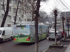 Autobuzul electric pe străzile Sucevei