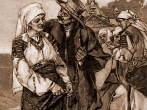 Port în regiunea Prutului (Boian) – desen de Julius Zalaty Zuber (1867-1918)