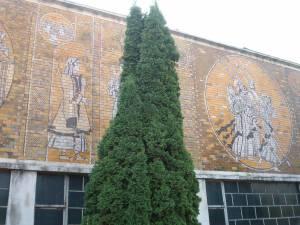 Mozaicul parietal amplasat pe peretele exterior al halei industriale a fostei Întreprinderi de Utilaje şi Piese de Schimb (IUPS) Suceava