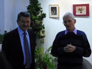 Adrian Graur alături de Ionel Corjan la vernisarea expoziţiei a lui Cătălin Ţigăeru