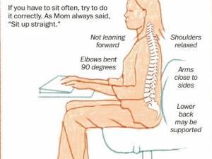Dacă trebuie să staţi jos mult timp, încercaţi să aveţi o poziţie corectă