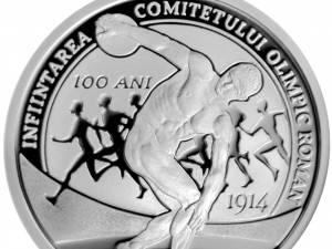 Monedă din argint dedicată aniversării a 100 de ani de la înfiinţarea Comitetului Olimpic Român
