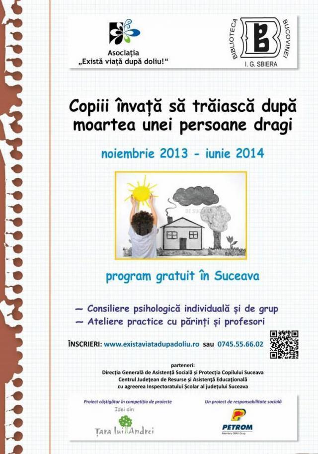 """Evaluarea proiectului """"Copiii din Suceava învaţă să trăiască după moartea unei persoane dragi"""""""