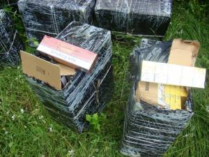 Ţigările de contrabandă capturate de poliţiştii de frontieră