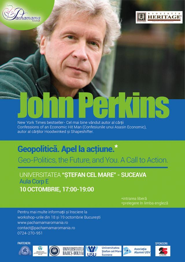 """Economistul american John Perkins conferenţiază la Universitatea """"Ştefan cel Mare"""""""